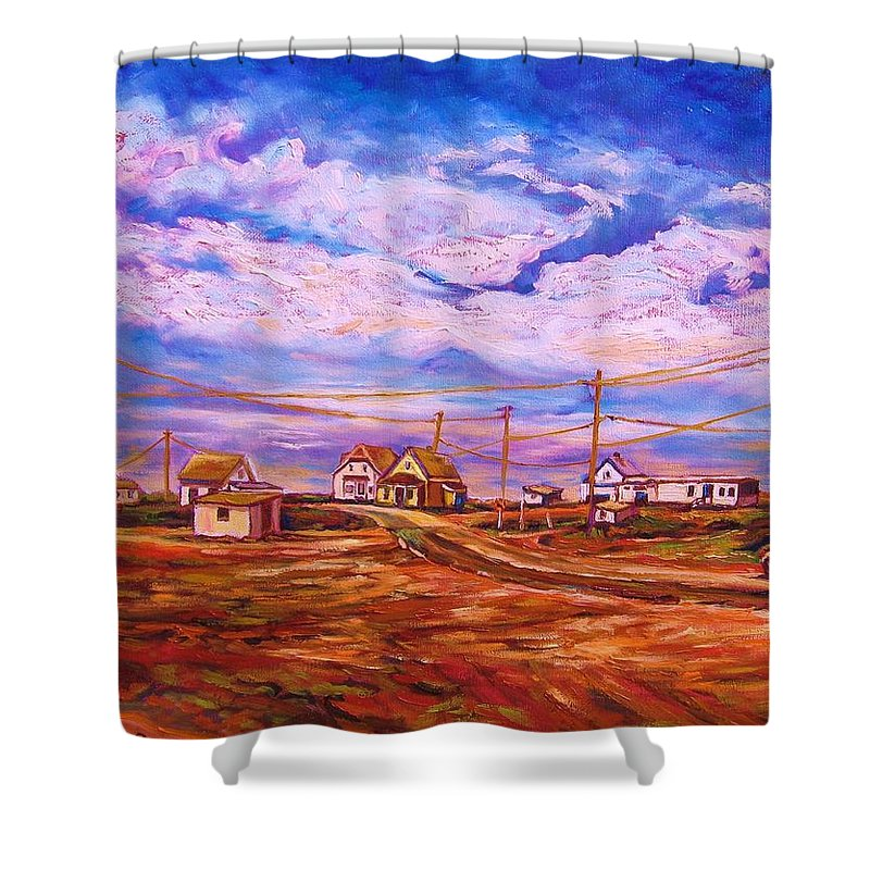 Cloudscapes Shower Curtain featuring the painting Big Sky Red Earth by Carole Spandau