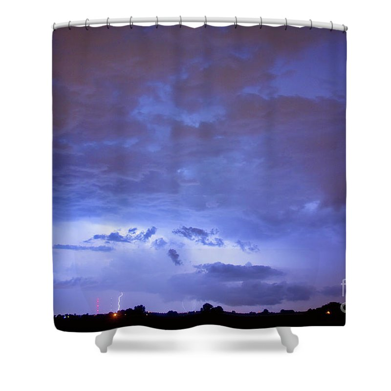 Bouldercounty Shower Curtain featuring the photograph Big Sky With Small Lightning Strikes In The Distance by James BO Insogna