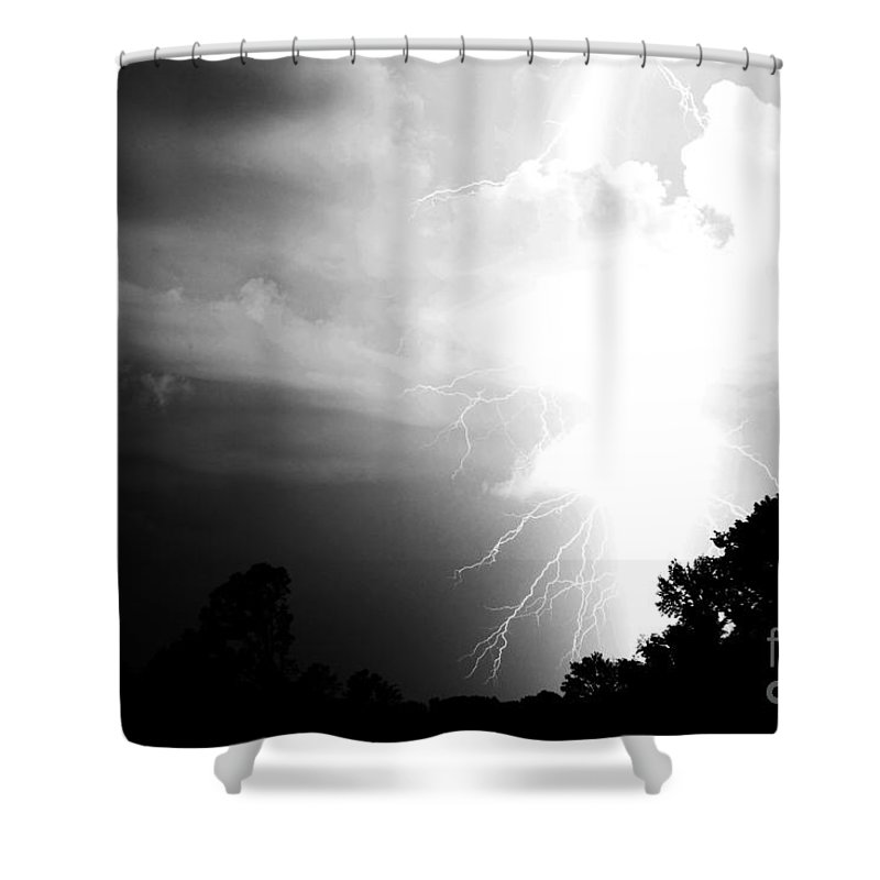 Lightning Shower Curtain featuring the photograph Big Strike by Amanda Barcon