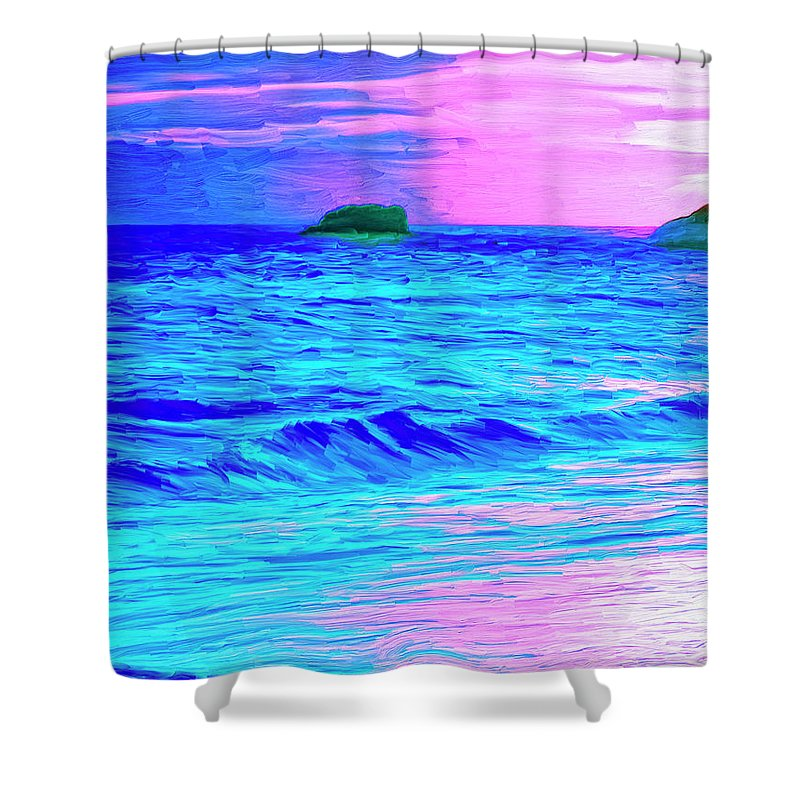 Sunset Shower Curtain featuring the painting Big Sur Sunset by Dominic Piperata