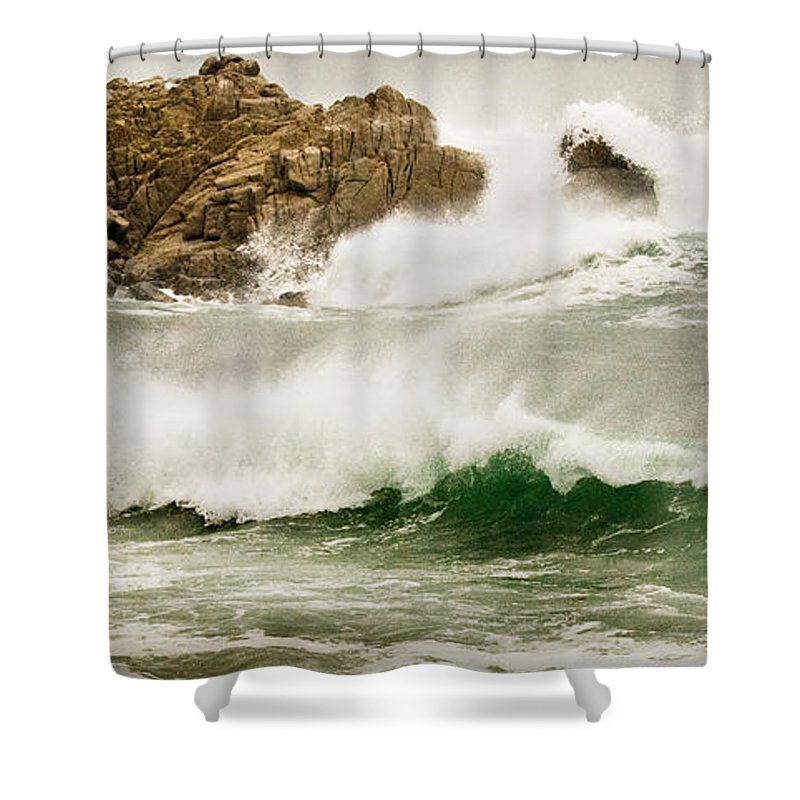 California Coast Shower Curtain featuring the photograph Big Waves Comin In by Norman Andrus