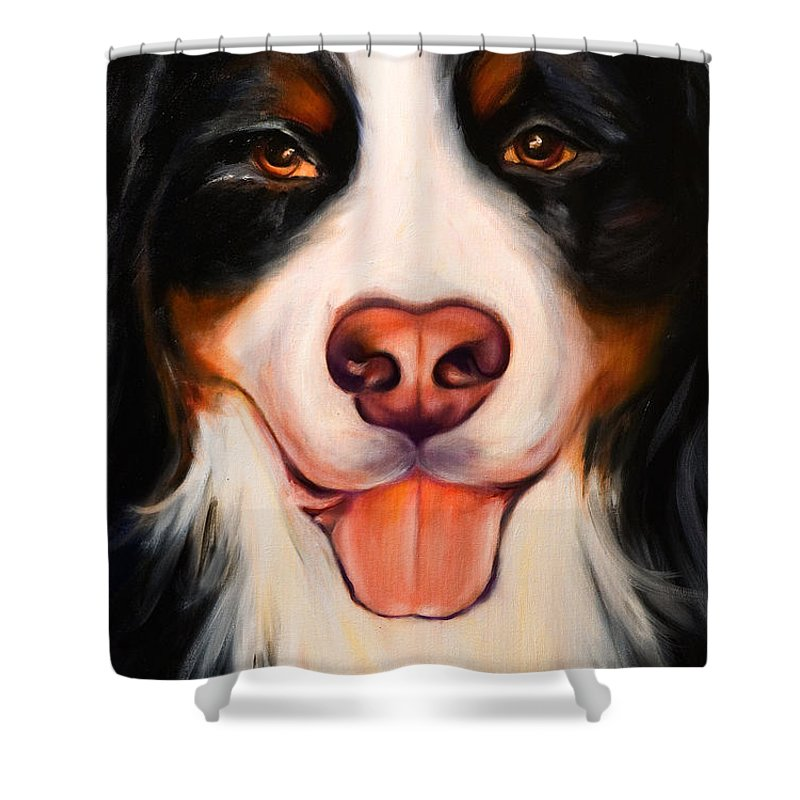 Dog Shower Curtain featuring the painting Big Willie by Shannon Grissom