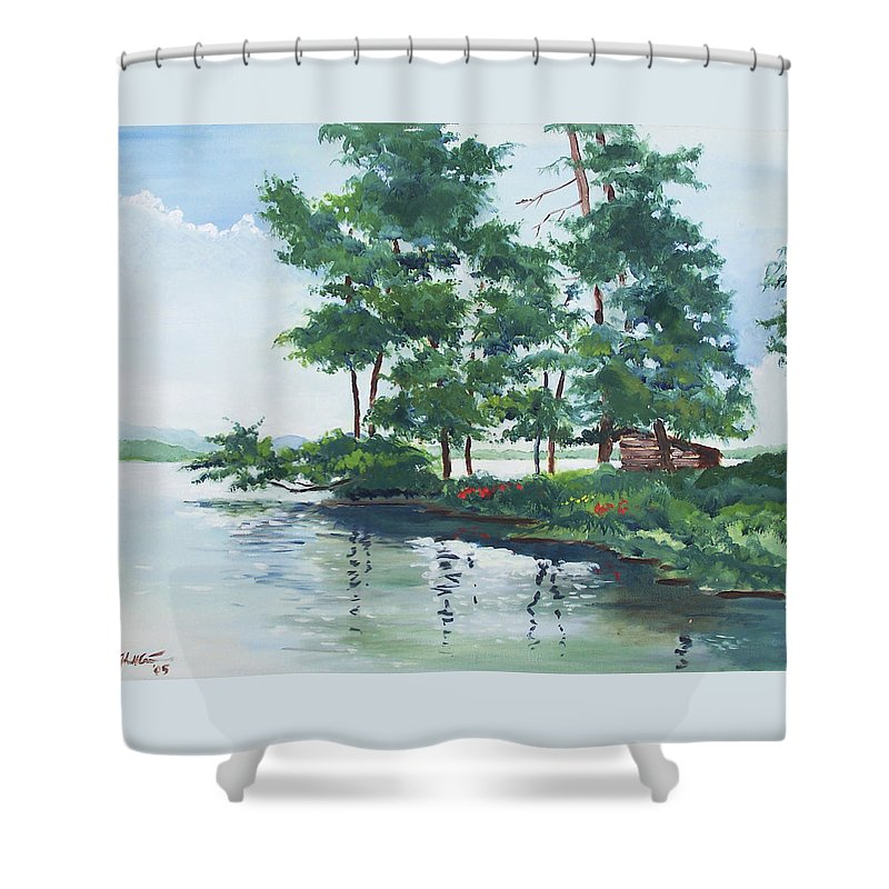 Landscape Shower Curtain featuring the painting Big Wolf Lake by John Crowther