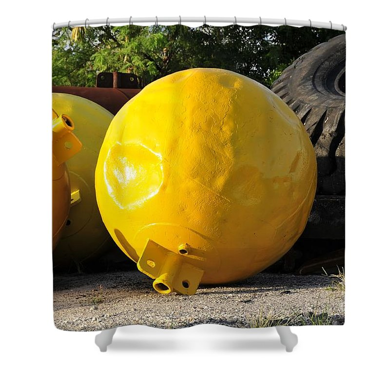 Yellow Shower Curtain featuring the photograph Big Yellow Balls by David Lee Thompson