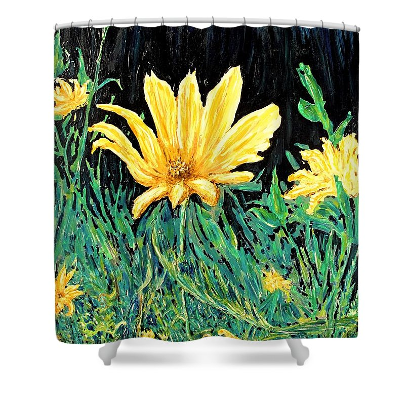 Flower Shower Curtain featuring the painting Big Yellow by Ian MacDonald