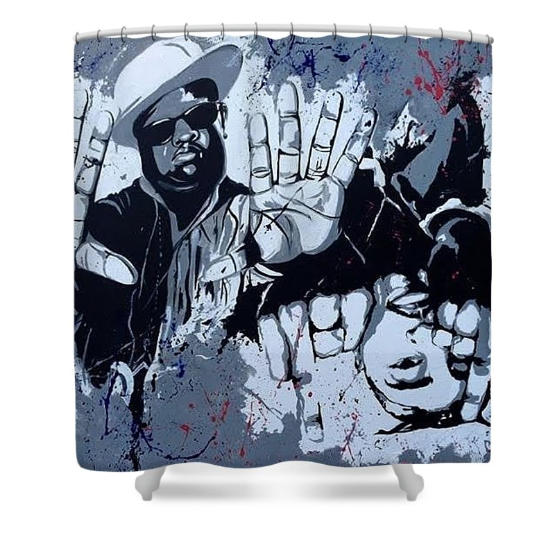 Hip Hop Shower Curtain Featuring The Painting Biggie N Tupac By Chloe Gertz