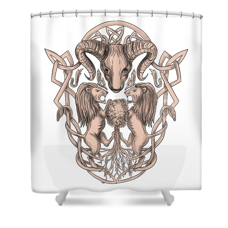 Bighorn Sheep Lion Tree Coat Of Arms Celtic Knotwork Tattoo Shower Curtain For Sale By Aloysius Patrimonio