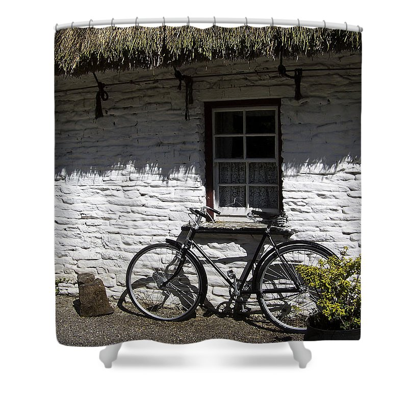 Irish Shower Curtain featuring the photograph Bike At The Window County Clare Ireland by Teresa Mucha