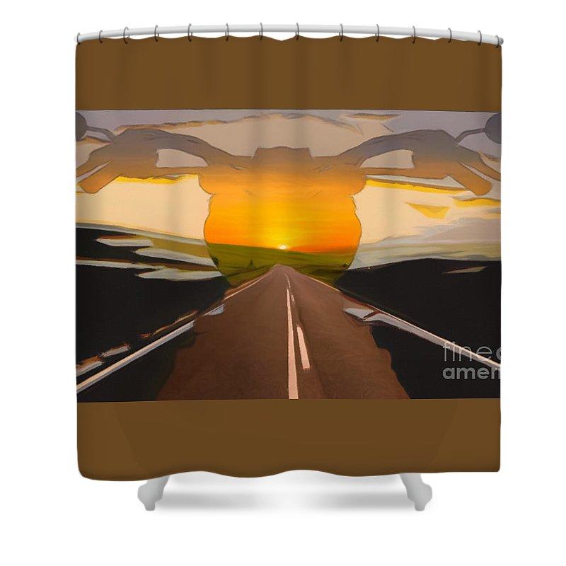 Bike Shower Curtain featuring the digital art Bike Canyon Highway by Robert Barlow