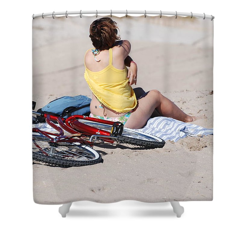 Red Shower Curtain featuring the photograph Bike On The Beach by Rob Hans