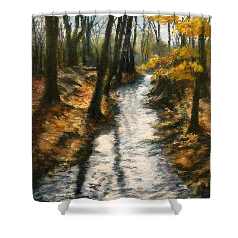 Brook Shower Curtain featuring the pastel Bike Path Brook by Jack Skinner