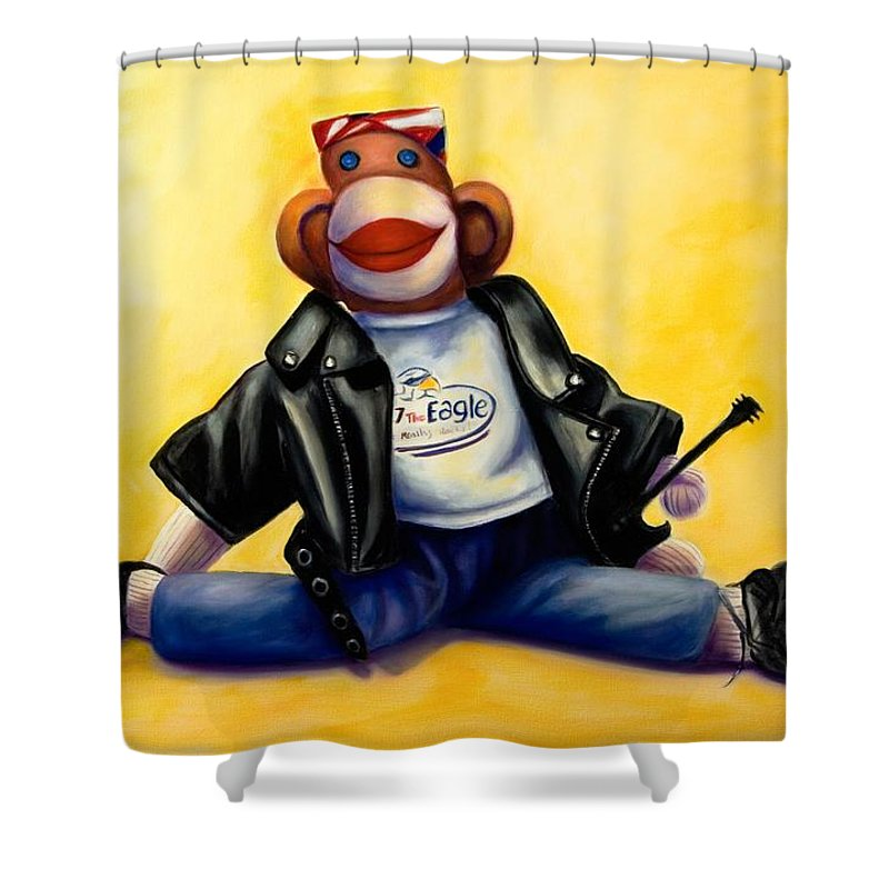 Sock Monkey Brown Shower Curtain featuring the painting Biker Dude Made Of Sockies by Shannon Grissom