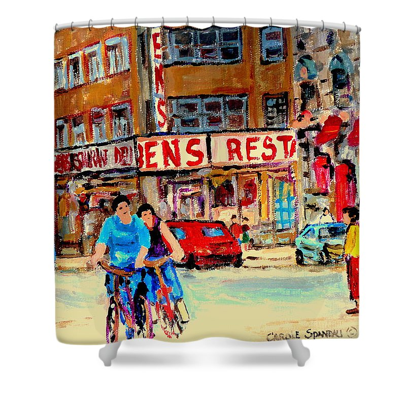 Montreal Shower Curtain featuring the painting Biking Past Ben by Carole Spandau
