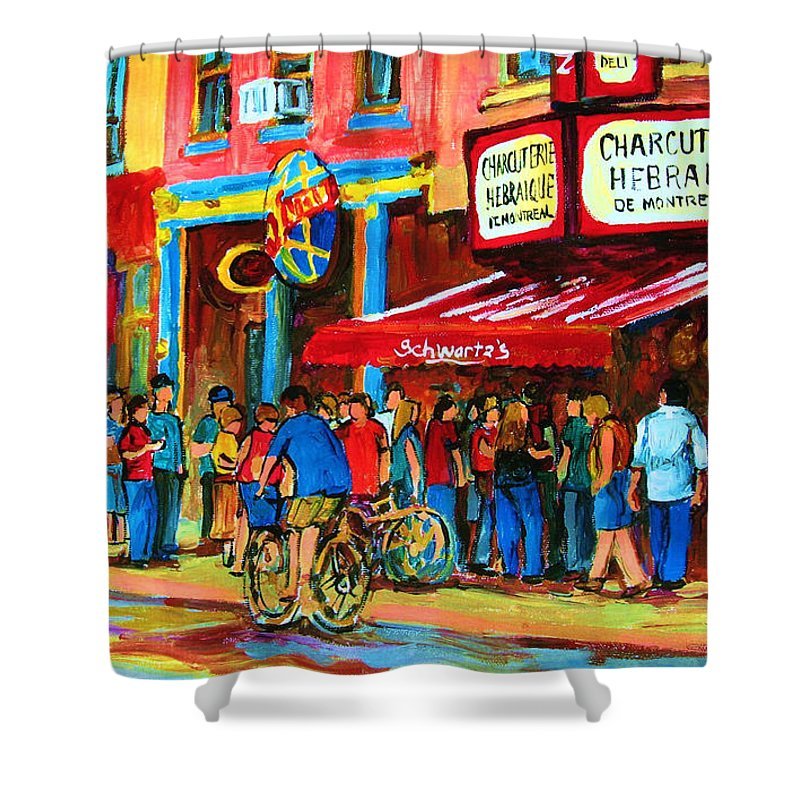 Schwartzs Smoked Meat Deli Shower Curtain featuring the painting Biking Past The Deli by Carole Spandau
