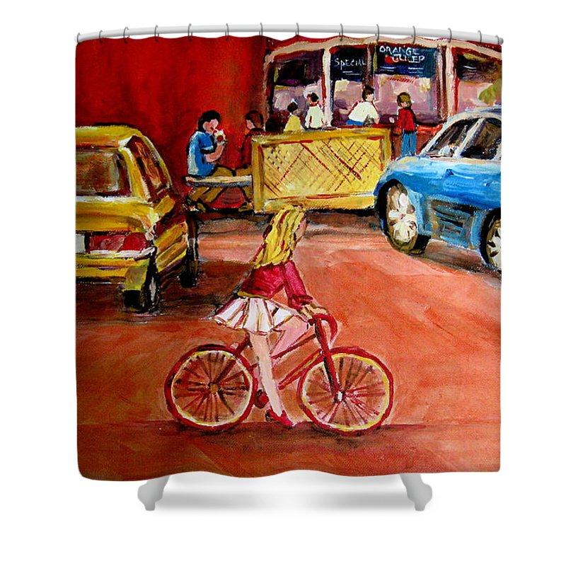 Orange Julep Shower Curtain featuring the painting Biking To The Orange Julep by Carole Spandau