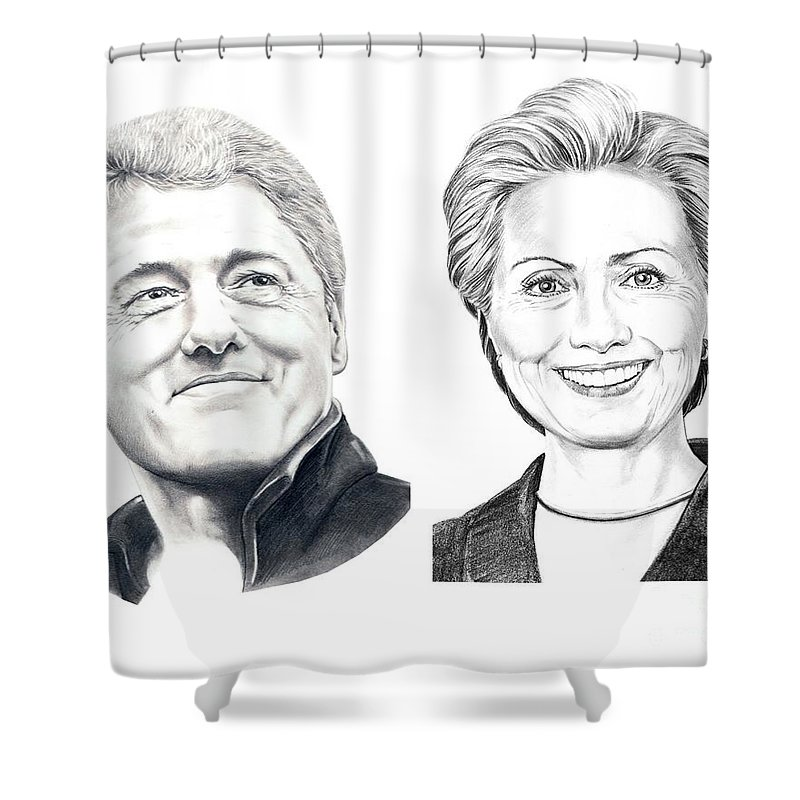 Drawing Shower Curtain featuring the drawing Bill And Hillary by Murphy Elliott