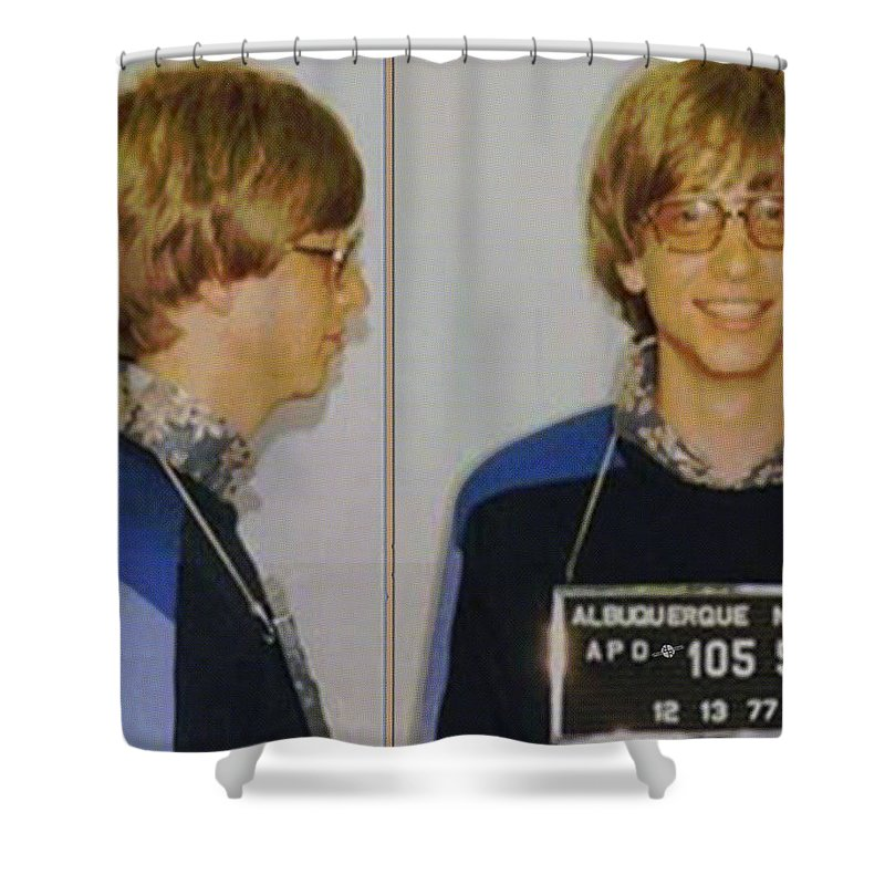 Bill Gates Shower Curtain featuring the painting Bill Gates Mug Shot Horizontal Color by Tony Rubino