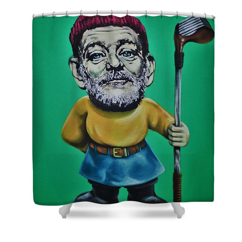 Bill Murray Shower Curtain Featuring The Drawing Golf Gnome By Brent Andrew Doty
