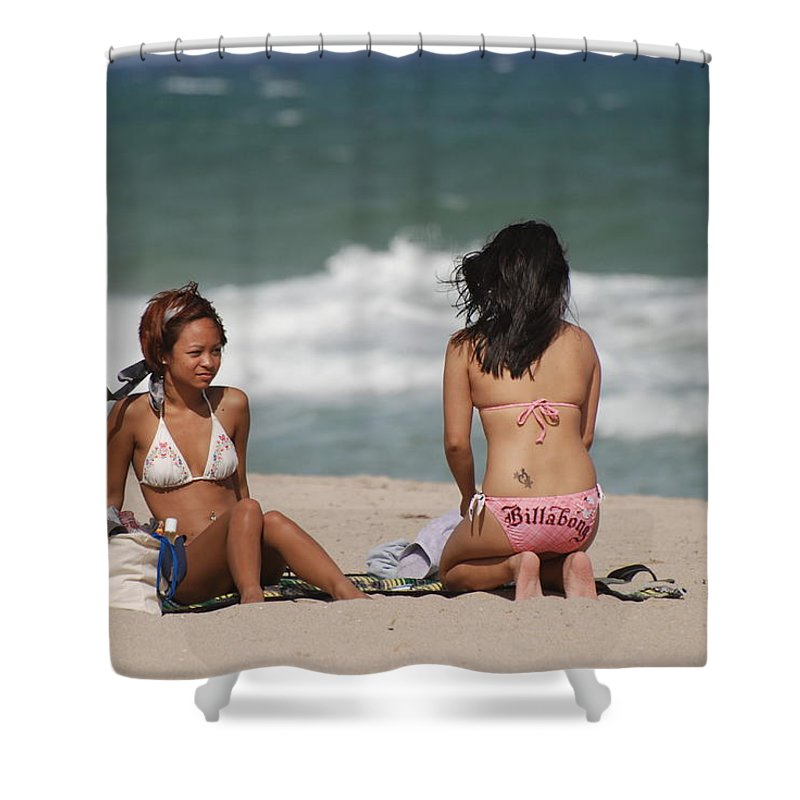 Sea Scape Shower Curtain featuring the photograph Billabong Girls by Rob Hans