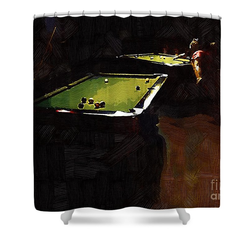 Billiards Shower Curtain featuring the painting Billiards Ballet by RC DeWinter