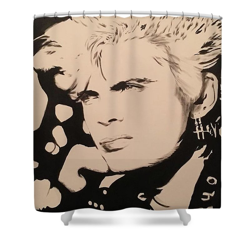 Billiy Idol Shower Curtain featuring the painting Billy Idol by Luke Glasscock