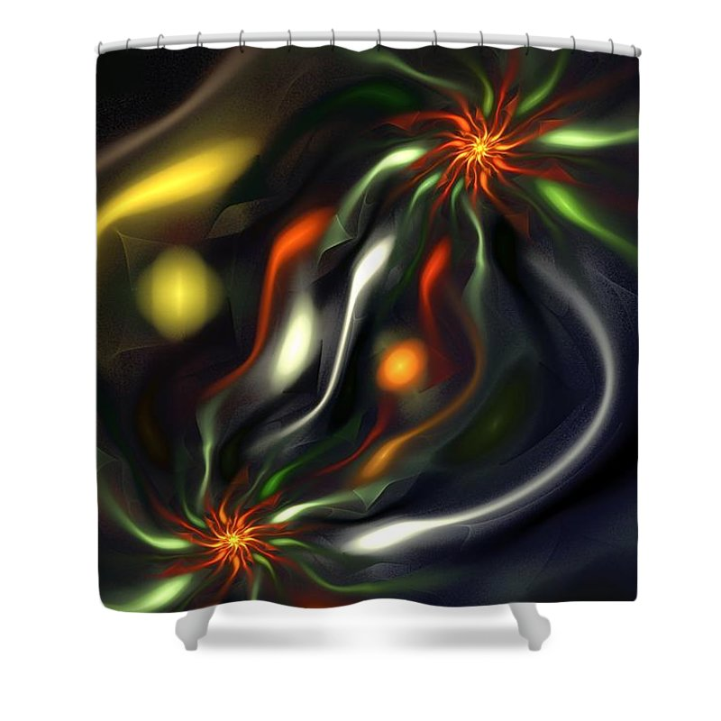 Digital Painting Shower Curtain featuring the digital art Binary Attractors by David Lane