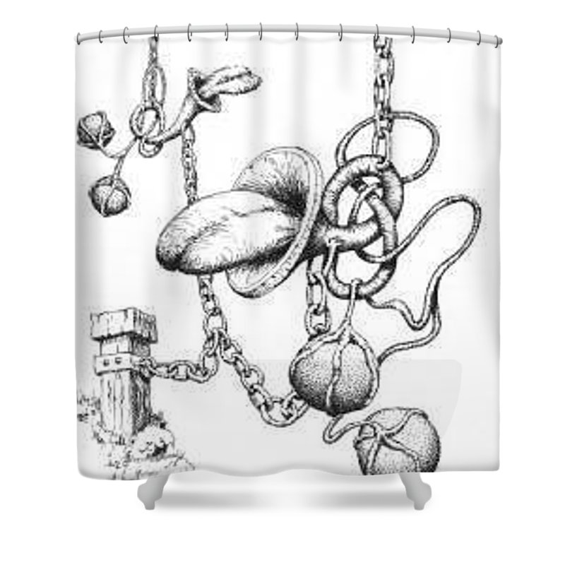 Relationahip Shower Curtain featuring the drawing Binding Relationship by Sam Sidders
