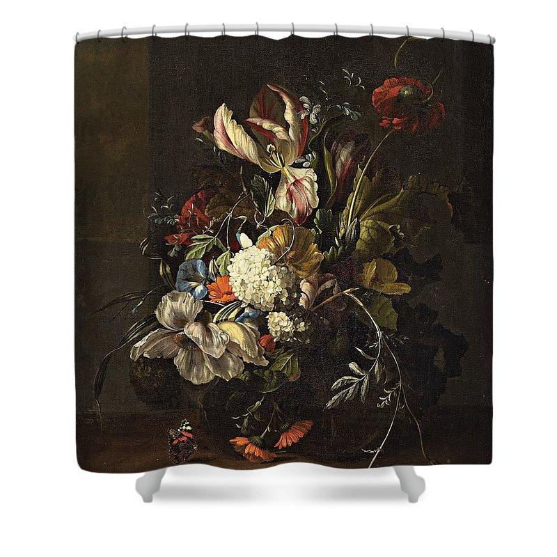 Rachel Ruysch Shower Curtain featuring the painting Bindweed And Chrysanthemums by MotionAge Designs