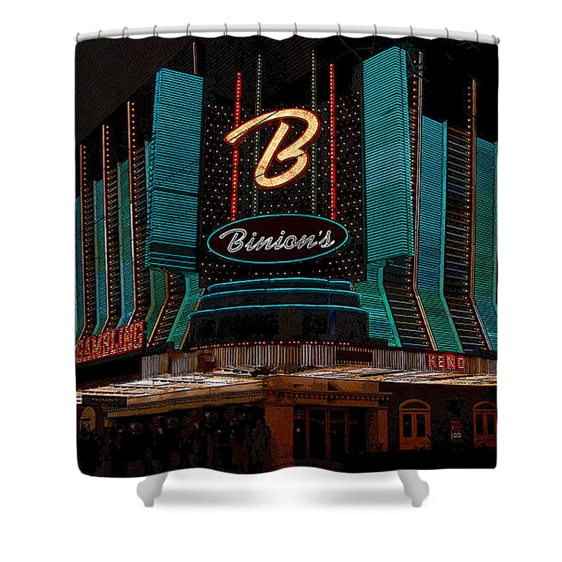 Art Shower Curtain featuring the painting Binions Vegas by David Lee Thompson