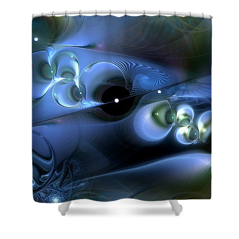 Abstract Shower Curtain featuring the digital art Biomechanical by Casey Kotas