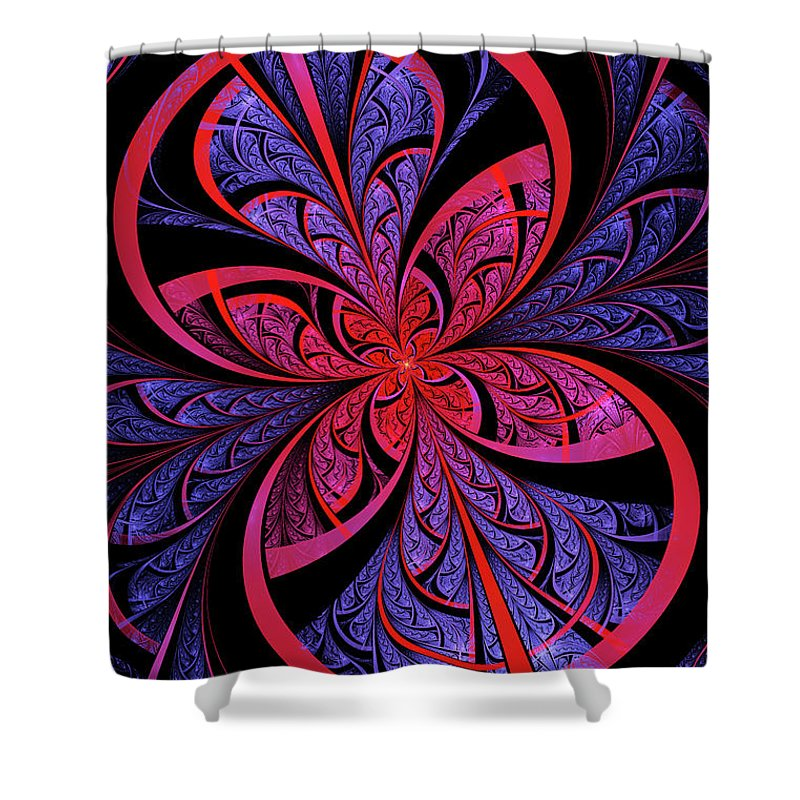 Flame Fractal Shower Curtain featuring the digital art Bipolar by John Edwards