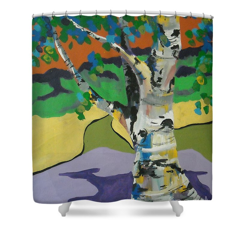 Tree Shower Curtain featuring the painting Birch Tree by Caroline Davis