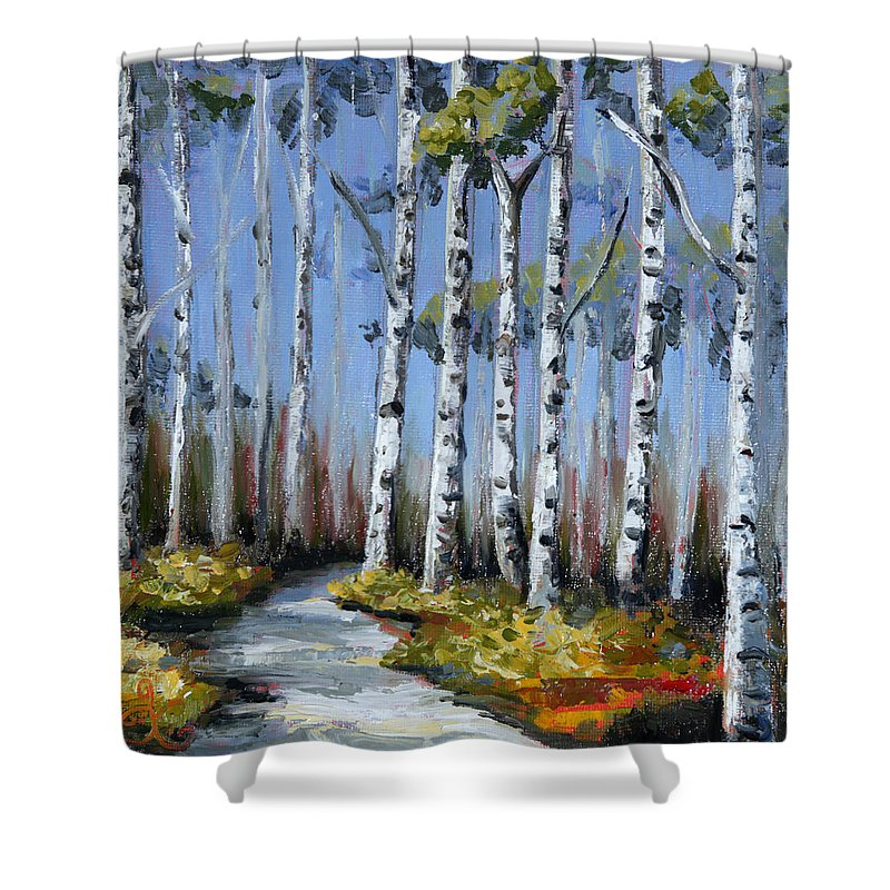 Birch Trees Shower Curtain Featuring The Painting Tree Path By Trina Teele
