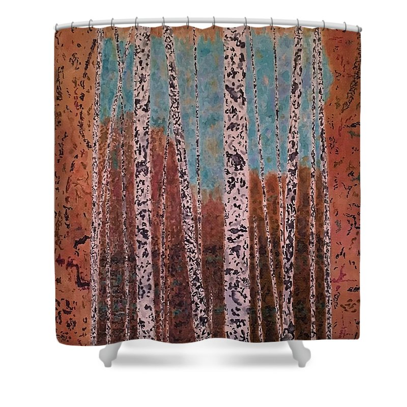 Trees Shower Curtain featuring the painting Birch Trees by John Cunnane
