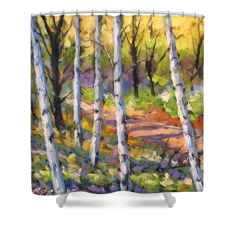 Art Shower Curtain featuring the painting Birches 02 by Richard T Pranke