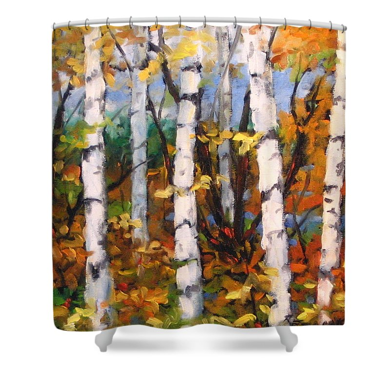 Art Shower Curtain featuring the painting Birches 03 by Richard T Pranke