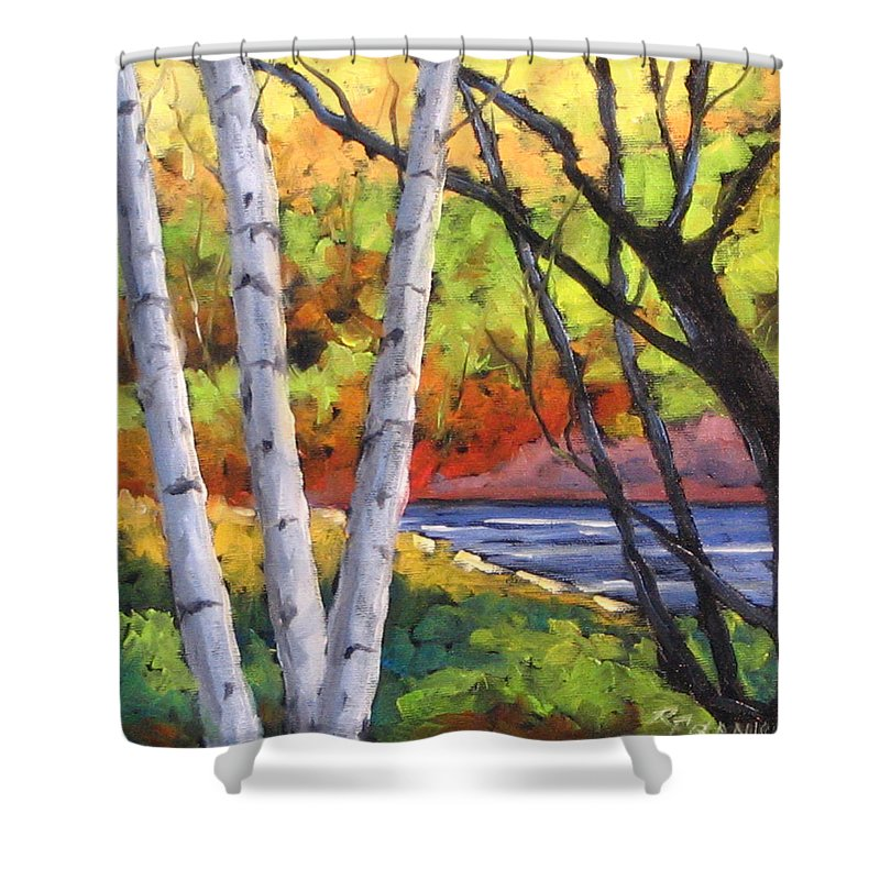 Art Shower Curtain featuring the painting Birches 06 by Richard T Pranke
