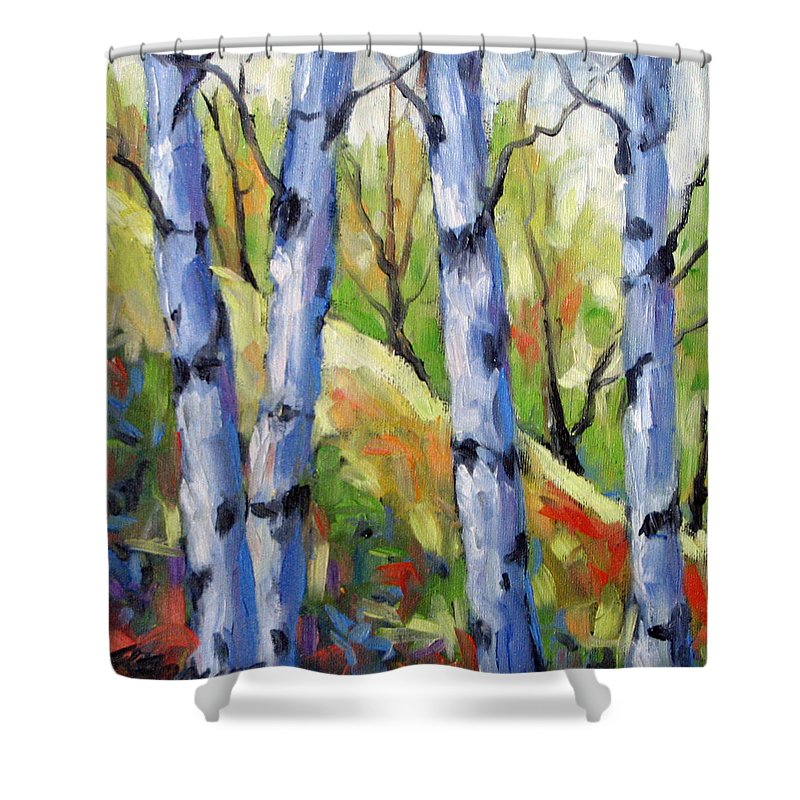 Art Shower Curtain featuring the painting Birches 09 by Richard T Pranke