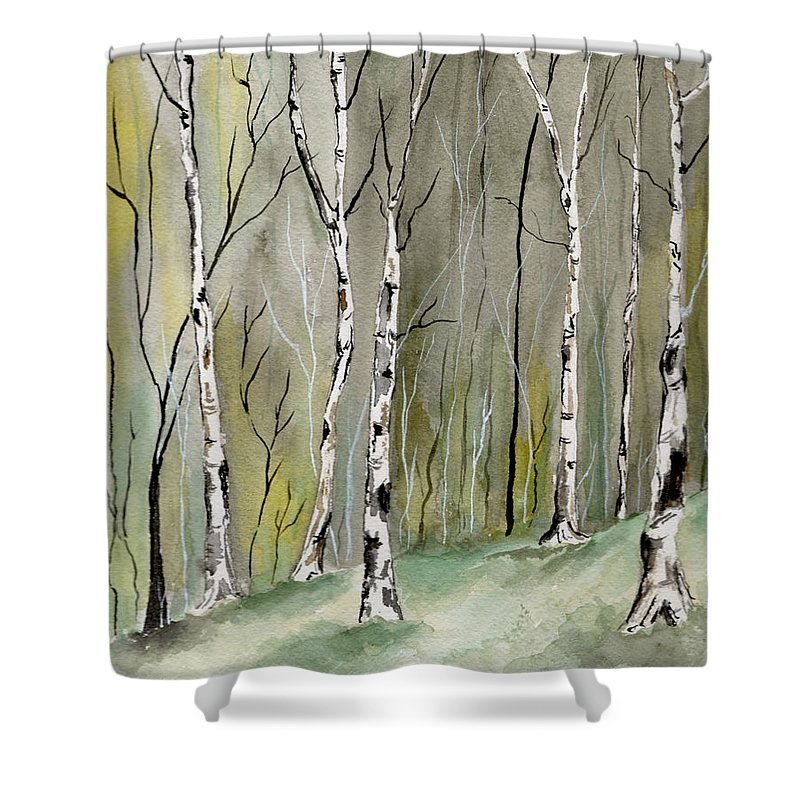 Landscape Shower Curtain featuring the painting Birches Before Spring by Brenda Owen