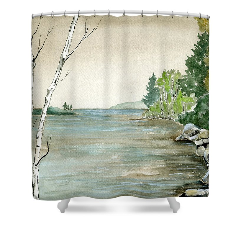 Landscape Watercolor Birches Trees Lake Pond Water Sky Rocks Shower Curtain featuring the painting Birches By The Lake by Brenda Owen