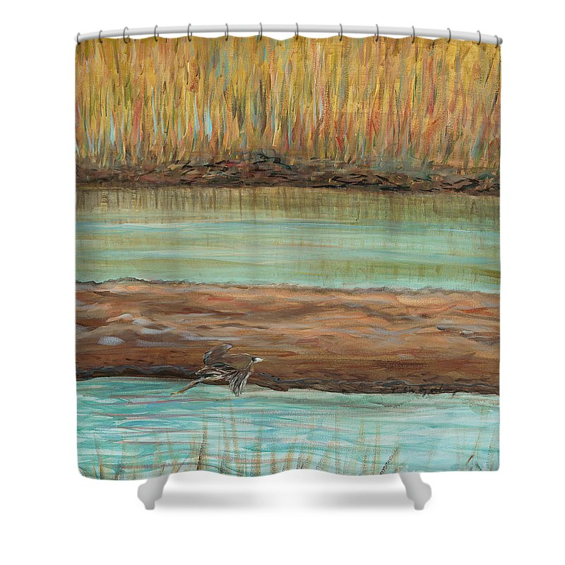 Bird Shower Curtain featuring the painting Bird in Flight by Nadine Rippelmeyer
