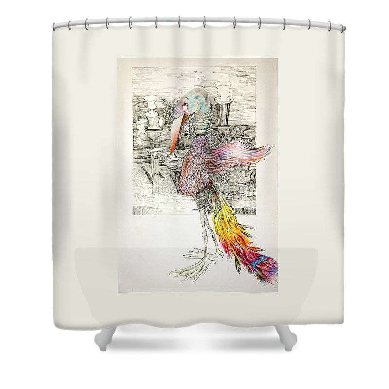 Ink Shower Curtain featuring the drawing Bird by Misha Lapitskiy