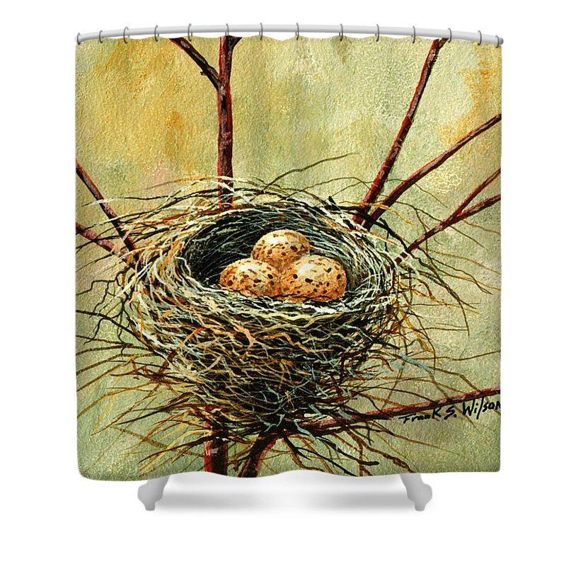 Still Life Shower Curtain featuring the painting Bird Nest by Frank Wilson