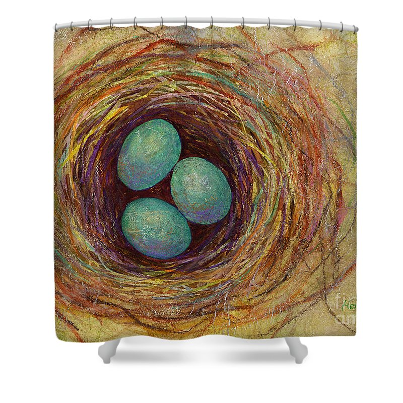 Eggs Shower Curtain featuring the painting Bird Nest by Hailey E Herrera