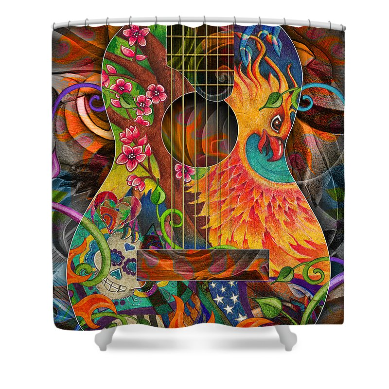 Guitar Shower Curtain featuring the drawing Bird Of Fire Guitar by Julie Oakes