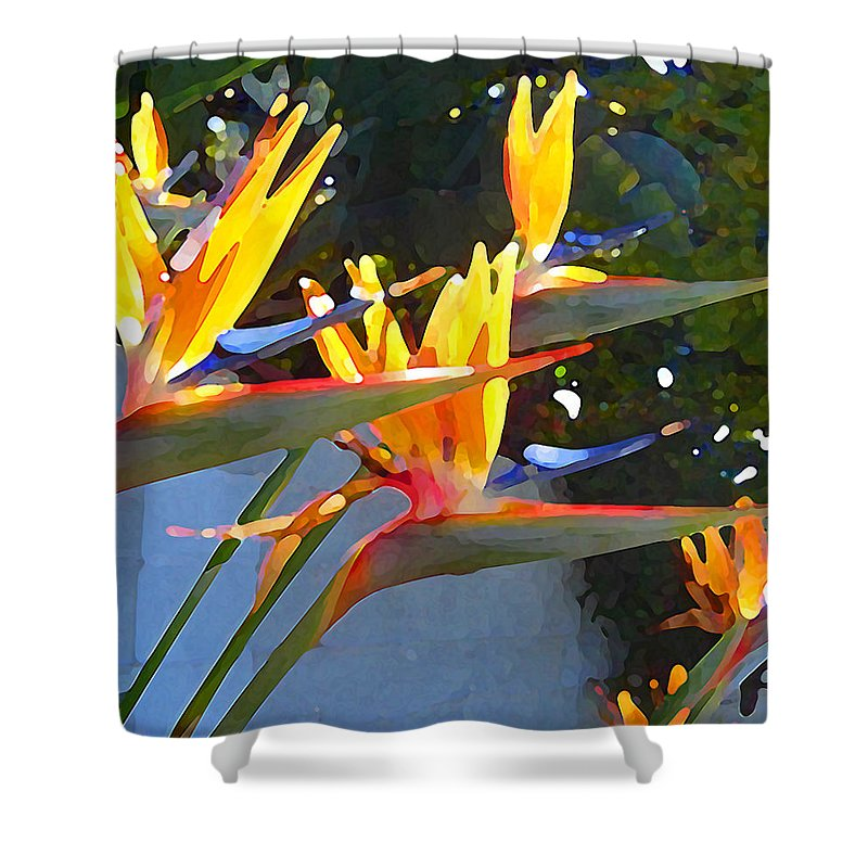 Abstract Shower Curtain featuring the painting Bird Of Paradise Backlit By Sun by Amy Vangsgard