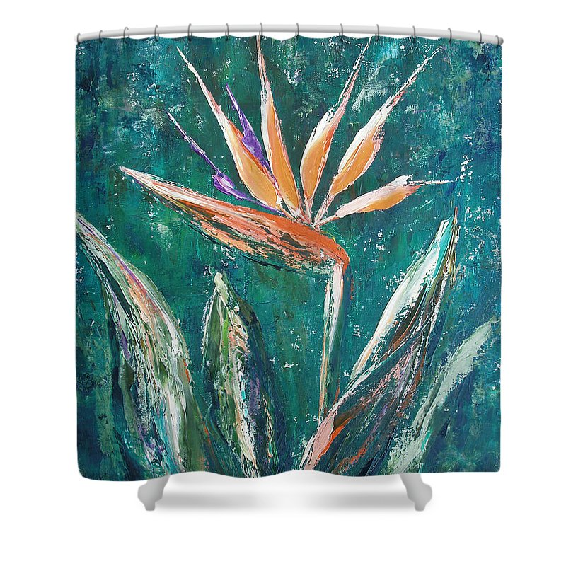 Bird Of Paradise Shower Curtain featuring the painting Bird Of Paradise by Gina De Gorna