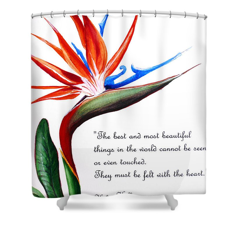 Bird Of Paradise Poem Shower Curtain Featuring The Painting By Karin Dawn