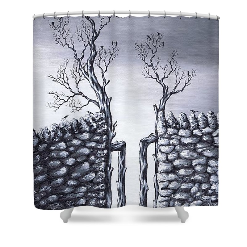 Birds Shower Curtain featuring the painting Bird Tree by Kenneth Clarke