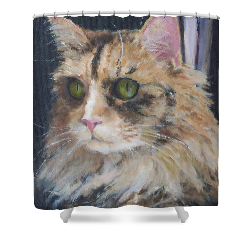 Feline Shower Curtain featuring the painting Bird Watching by Alicia Drakiotes